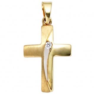 Anhänger Kreuz 333 Gold Gelbgold mattiert 1 Zirkonia Kreuzanhänger Goldkreuz
