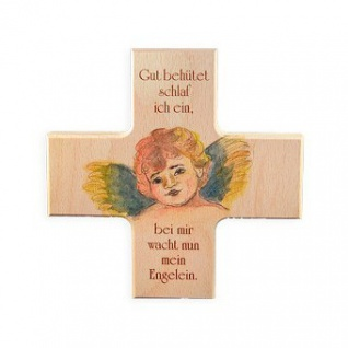 Kinderkreuz Gut behütet.. Buche bemalt bedruckt 12 cm Wandkreuz Holz Kreuz Gebet
