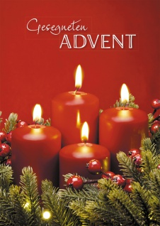 Glückwunschkarte Gesegneten Advent Adventskranz (6 Stck) Kuvert