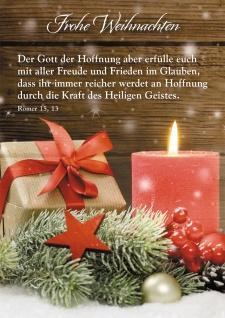 Postkarte Frohe Weihnachten (10 St) Rote Kerze Geschenk Grußkarte
