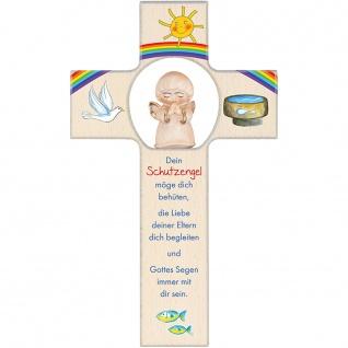 Kinderkreuz Ahornholz Schutzengel Holz-Engel 20 cm Wandkreuz Text Bildmotiv NEU