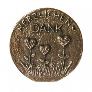 Herzlichen Dank Bronzeplakette poliert 8 cm Wandbild Deko - Vorschau