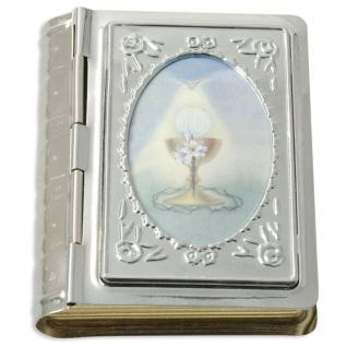 Rosenkranz Etui Bibelformat Kelch 5 cm Kommunion Schmuckschatulle