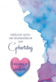 Glückwunschkarte Geburtstag Glasmagnet 5 St Kuvert Herz Wunsch Optimismus - Vorschau