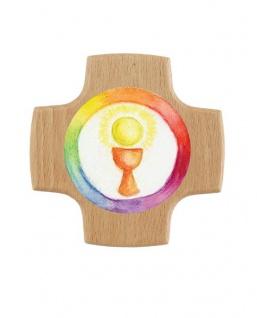 Kreuz für Kinder Regenbogen 8 cm Kruzifix Holz-Kreuz Wandkreuz