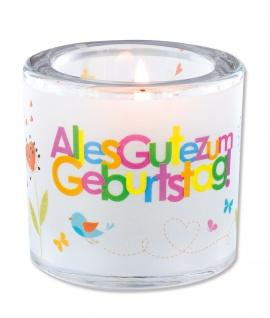Glaswindlicht Alles Gute zum Geburtstag Teelicht Kerzenhalter