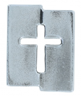 Kreuz-Plakette Neusilber 5, 5 cm Wanddekoration Kerstin Stark