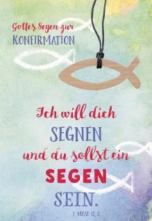 Konfirmation Grußkarte Gottes Segen zur Konfirmation (5 St) Fisch Holzanhänger