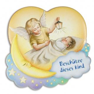 Schutzengel Bild Baby mit Engel Beschütze dieses Kind 10 x 9 cm herzförmig