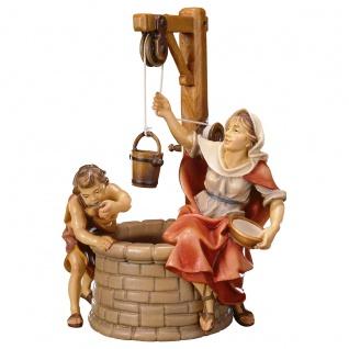 Brunnengruppe 3 Teile Holzfigur geschnitzt Südtirol Krippenfigur Ulrich Krippe
