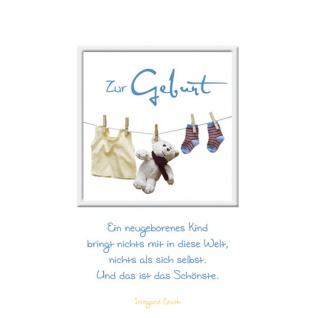 Geburtskarte Zur Geburt (3 Stck) Sinnspruch Glückwunschkarte Wäscheleine