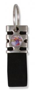 Schlüsselanhänger Christophorus Nubuk schwarz 8, 5 cm Christopherus Anhänger