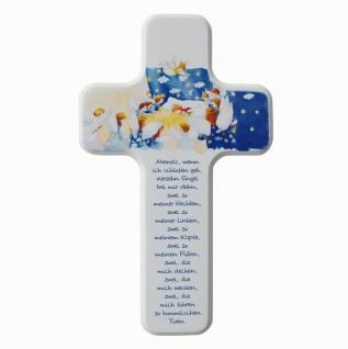 Kreuz für Kinder Gute Nacht Gebet 18 cm Kruzifix Holz-Kreuz Wandkreuz