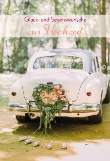 Glückwunschkarte Hochzeit Braut-Auto 6 St Kuvert Blumen-Schmuck Herzen