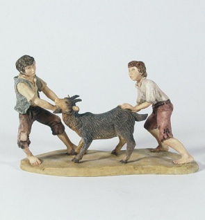 Krippenfigur Zwei Jungen mit Ziege Bergische-Krippe Krippen Figur Weihnachten
