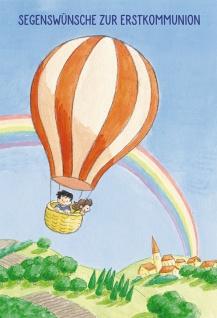 Glückwunschkarte Segenswünsche zur Erstkommunion (6 St) Kinder im Heißluftballon