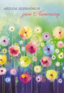 Glückwunschkarte Herzliche Segenswünsche zum Namenstag (6 St) Blumen Grußkarte