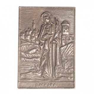 Namenstag Barbara 8 x 6 cm Bronzeplakette Wandrelief Namenspatron