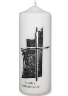 Trauerkerze In stiller Verbundenheit Kreuz Grün 22 cm Handarbeit Tischkerze
