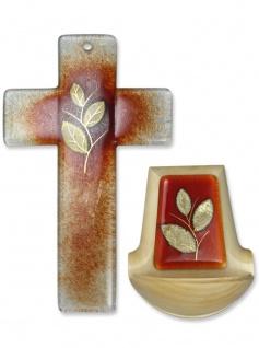 Weihwasserkessel Glaskreuz Set Goldblatt Glas Holz Blattgold Weihwasserbecken