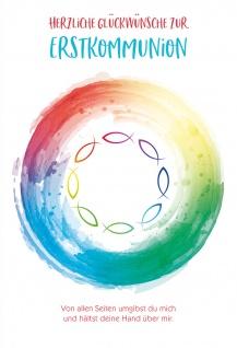 Glückwunschkarte Fische Regenbogenfarbe Glückwünsche zur Erstkommunion (6 Stück)