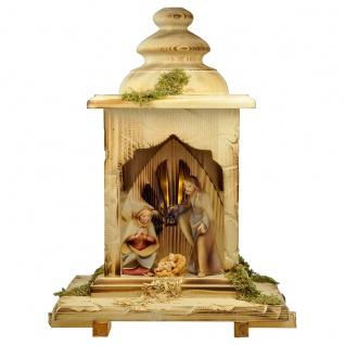 Heiland Krippe Set 5 Teile mit Licht Holzfigur geschnitzt Weihnachtskrippe