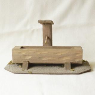 Wassertrog Holz handgefertigt 22 cm Zubehör für Weihnachtskrippe