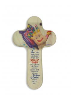 Kinderkreuz Auf dem Weg durch das Leben Naturholz 20 cm Wandkreuz Bunte Finger