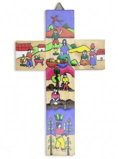 Kinderkreuz Kinder Naturholz El Salvador 15 cm handbemalt Wandkreuz Kreuz Holz