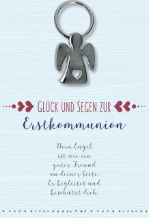 Glückwunschkarte Schlüsselanhänger Engel mit Herz (5 Stück) Erstkommunion