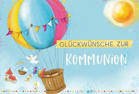 Glückwunschkarte zur Kommunion (6 Stück) Heißluftballon und christliche Symbole