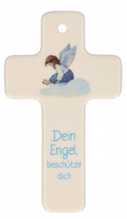 Porzellan Engel Kruzifix Kreuz Schutz-Symbol Wand-Kreuz Farbdruck