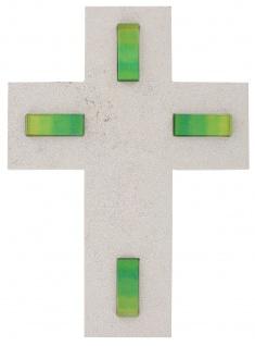 Wandkreuz Naturstein Kreuz 4 Inlays Glaseinlage grün 21 cm Kruzifix Christlich