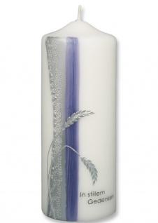 Trauerkerze In stillem Gedenken Ähren Lila Silber 22 cm Handarbeit Tischkerze
