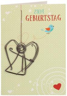 Glückwunschkarte Geburtstag Engel Anhänger 5 St Kuvert Naturpapier Segen Schutz