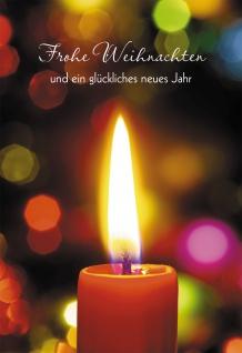 Glückwunschkarte Frohe Weihnachten (6 St) Kerze Grußkarte Kuvert