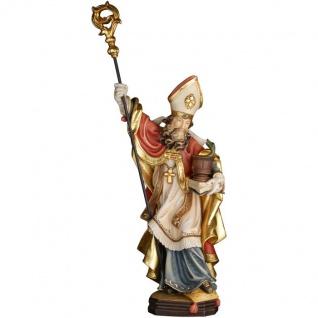 Heiliger Pirmin mit Schlange Holzfigur geschnitzt Südtirol Schutzpatron