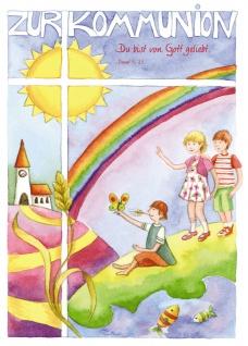 Kommunionkarte Zur Kommunion Symbole (6 Stck) Grußkarte Erstkommunion Kuvert
