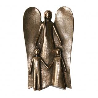 Schutzengel mit zwei Kindern Bronzefigur 14 cm Engel Figur