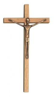 Kruzifix Eichenholz 20 cm Bronze Korpus Jesus Kreuz Holzkreuz Fischbach