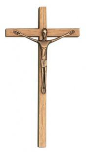 Wandkreuz Kruzifix Eichenholz 20cm Bronze Korpus Jesus Kreuz Holzkreuz Fischbach