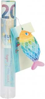 Geldgeschenk Glasröhrchen Metall-Anhänger Fisch Einlegeblatt Widmung