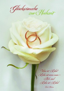 Hochzeitskarte Rose Glückwünsche zur Hochzeit (6 Stck) Glückwunschkarte Kuvert