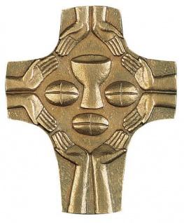 Wandkreuz Symbolkreuz Hände Bronze 9, 5 cm Fischbach Erstkommunion Handarbeit NEU