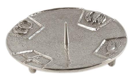 Kerzenständer 4 christliche Symbole Füßchen Silberbronze 15 cm