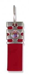 Schlüsselanhänger Christophorus Nubuk rot 8, 5 cm Christopherus Anhänger