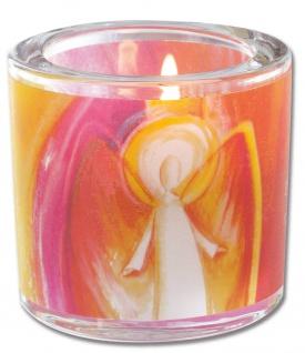Glaswindlicht Engel inkl. Teelicht Kerzenhalter Geschenkbox Glas für Windlicht