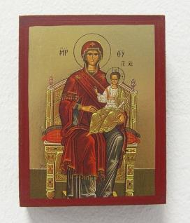 Ikone Madonna 9 cm Gottesmutter mit Kind vergoldet Handarbeit Griechenland