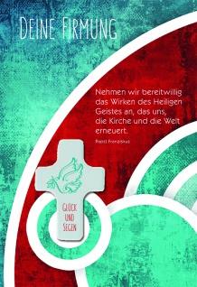 Grußkarte Firmung Papst Franziskus Taube Holzkreuz (5 Stck) Kuvert Glückwunsch