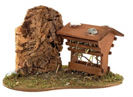 Futterstelle Holz handgefertigt 17 cm Zubehör für Weihnachtskrippe